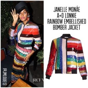 Alice + Olivia Lonnie Rainbow Sequin Bomber Jacket
